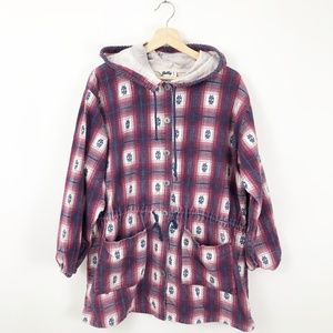 VTG 90's Jolly Aztec Flannel Button Front Hoodie